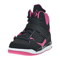 JORDAN KIDS GIRLS FLIGHT 45 HIGH GP BLACK VIVID PINK WHITE