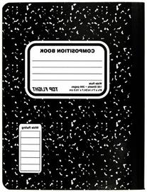 Top Flight Sewn Composition Book, Black and White Marble,