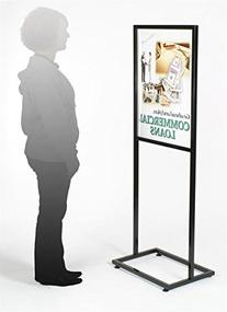 Displays2go Floor Sign Holder Stand with Glossy Black