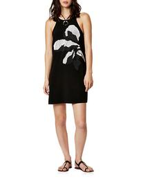 Halston Heritage Floral Beaded Crepe Dress-BLACK-0
