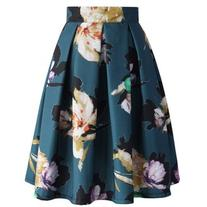 Chicwish Floral Illusion Pleated Skirt in Teal