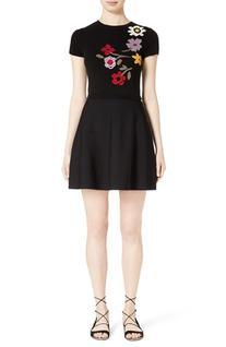 Women's Red Valentino Floral Intarsia Knit Fit & Flare Dress