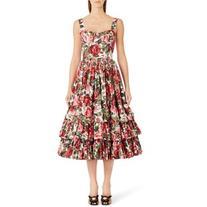 Women's Dolce&gabbana Floral Print Poplin Dress