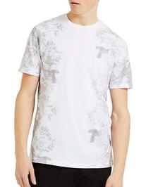 Topman Floral Print Slim Fit T-Shirt-WHITE-Medium