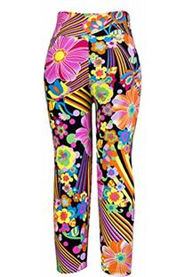 Pink Queen® Womens Multicolor Floral Printed Yoga Capri