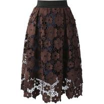 Chicwish Floral Reverie Crochet Midi Skirt in Brown