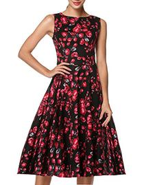 ACEVOG Women Flower Printed Sleeveless Evening Party