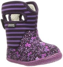 Bogs Kids' Classic Flower Stripe Waterproof Winter Boot