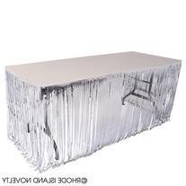 GIFTEXPRESS Set of 2, Silver Metallic Fringe Table Skirt/