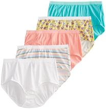FOL Women's Plus Size Fit For Me 5-Pack Cotton Brief Panties