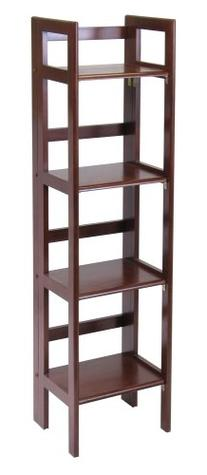 Winsome Wood Folding 4-Tier Shelf, Antique Walnut