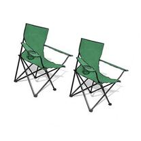 vidaXL Folding Chair Set 2 pcs Camping Outdoor Chairs with