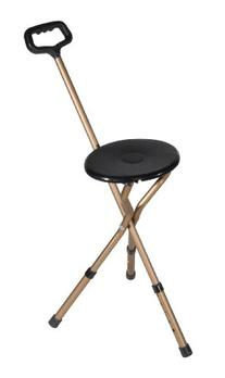 Folding Lightweight Adjustable Height Cane Seat, Bronze,
