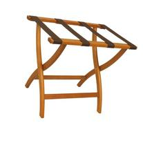 Folding Solid Oak Deluxe Luggage Rack w Four Support Straps