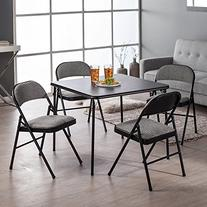Meco 5-Piece Folding Table and Chair Set, Black Lace Frame