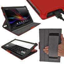 iGadgitz Premium Folio Red PU Leather Case Cover for Sony
