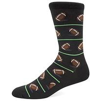 Hot Sox Men's Football Crew Sock, Black, Shoe: 10-13