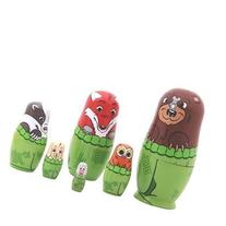 6PCS Forest Cute Animals Wooden Russian Nesting Doll