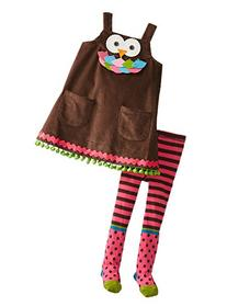 Mud Pie Little Girls' Owl Jumper with Tights, Brown, 4T