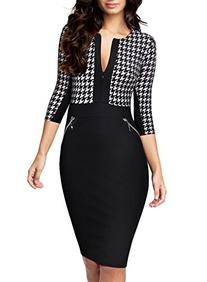 Miusol Women Formal Houndstooth-Print Optical Illusion 2/3
