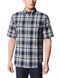 Carhartt Men's Fort Plaid Short Sleeve Shirt,Navy  ,Large