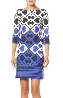 Women's Taylor Dresses Foulard Print Shift Dress, Size 8 -