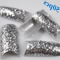 350BUY 50X French Nail tips Stunning Glitter Silver Sparkle