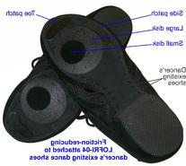 Friction-reducing stick-on dance soles for easy pivoting and