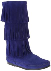 Minnetonka Womens 3 Layer Fringe Boot Blue Violet Size 8