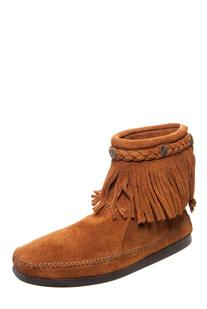 Minnetonka Fringed Ankle Boot - 292 Brown