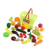 Fruits and Vegetables Shopping Basket Grocery Play Food Set