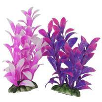uxcell 2 Pcs 6.2 inch Fuchsia Purple Plastic Plant Fish Tank