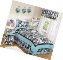 Turquoise Funky Zebra Childrens and Kids Bedding 4 Piece