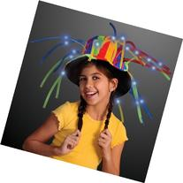 Funny Clown Top Hat with Lights & Noodle Hair