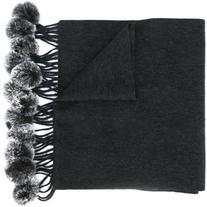 N.Peal - fur bobble woven scarf - women - Rabbit Fur/