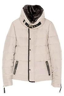 Womens Fur Stand Collar Hooded Waist Shaped Down Jacket