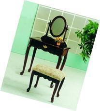 Roundhill Furniture Queen Anne Style Wood Makeup Vanity with