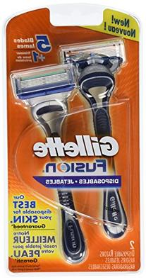 Gillette Fusion Disposable Razors for Men, 2 Count