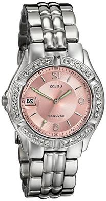 GUESS Women's G75791M Sporty Silver-Tone Watch with Pink