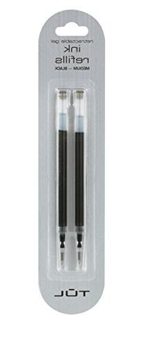 TUL Gel Medium Point Black Ink Pen Refill 2 Pack