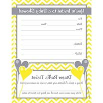 Gender Neutral Baby Shower Invitations with Diaper Raffle
