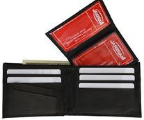 100% Genuine Leather Bi-fold Mens Wallet Black #533CF