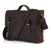 Kattee Genuine Leather Messenger Bag Tote, Leisure 15 Inch