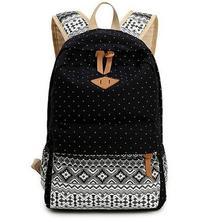 Hitop Geometry Dot Casual Canvas Backpack Bag, Fashion Cute