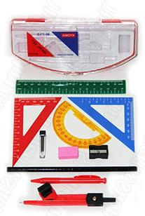 Geometry Drawing 10-in1 Rulers, Protractor, Compasses,