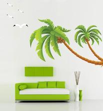 Kappier Giant Green Palm Trees with Seagulls Peel & Stick