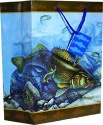 River's Edge Walleye Design Gift Bag, Medium/10x13x5-Inch