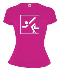 buXsbaum Girlie T-Shirt Roller Skating-Pictogram-M-Fuchsia-