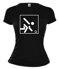 buXsbaum Girlie T-Shirt Bowling-Pictogram-M-Black-White