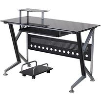 Black Glass Computer Desk with Pull-Out Keyboard Tray and